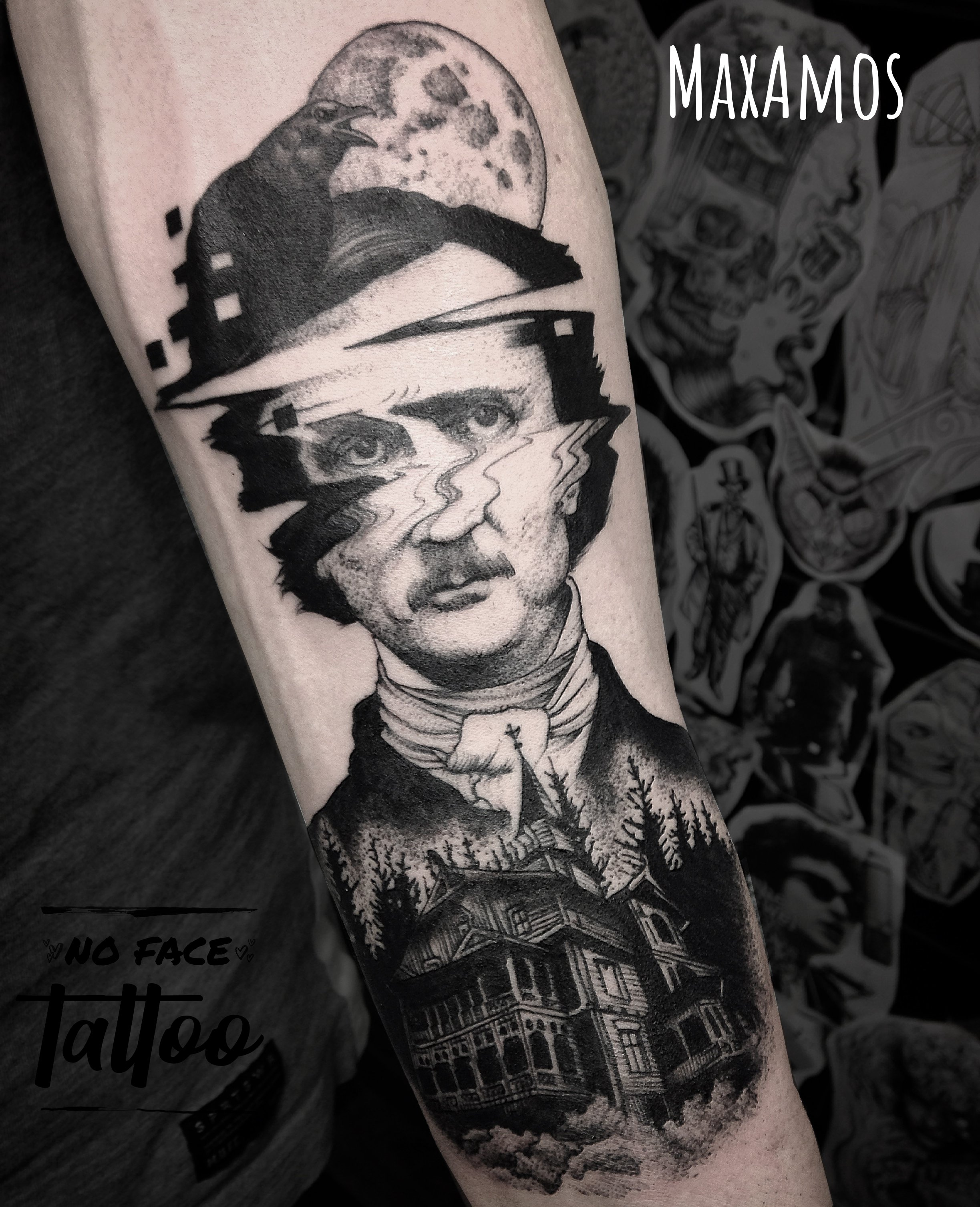 Glitched portrait tattoo of Edgar Allan Poe