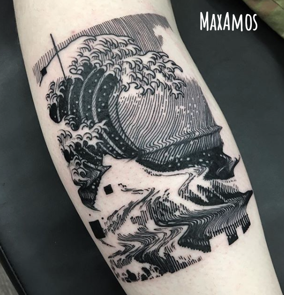 Glitched tattoo of the great wave