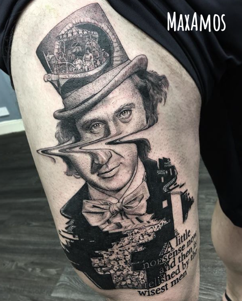 Glitched portrait tattoo of Gene Wilder as Willy Wonka